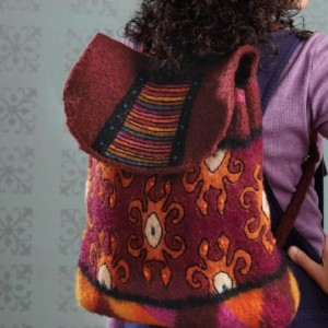 A knitted, felted, and embroidered backpack to create!