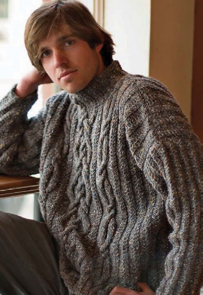 Learn how to knit this men's cable knit sweater part of this FREE eBook that includes 4 free men's sweater patterns.