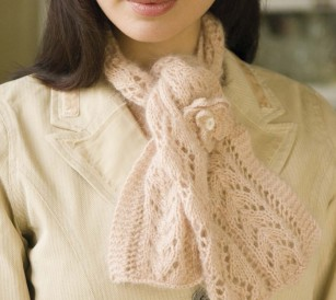 Knit this knitted lace scarf found in our FREE eBook on ideas for knitting gifts.