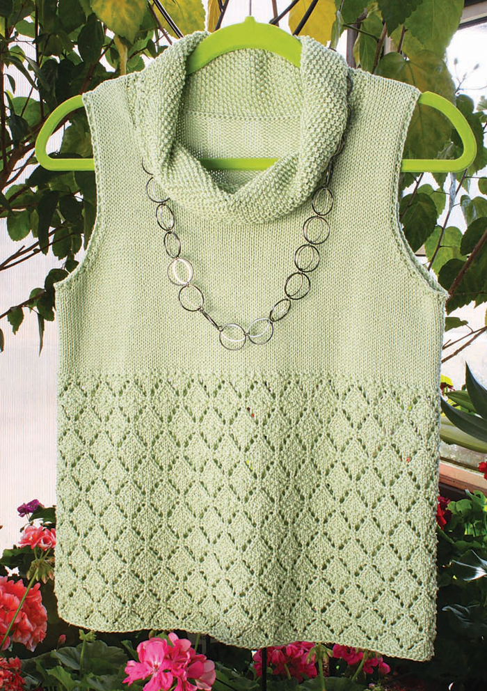 You'll love knitting this free knitting lace pattern called the Cielo Shell.