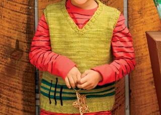 Knitting Patterns for Children: Vertical Vest by Jennifer Teigs.