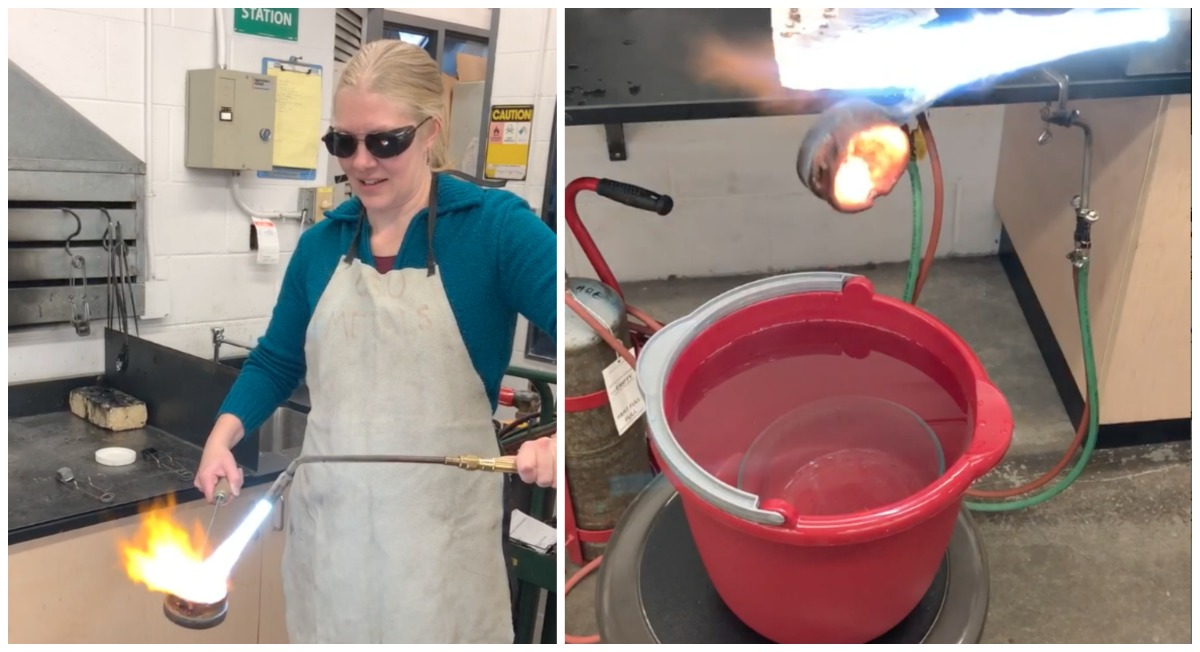 Left: I concentrate on keeping the flame moving in tiny circles over the casting grain. Right: A brief second without direct heat results in the metal solidifying on the edge of the crucible!