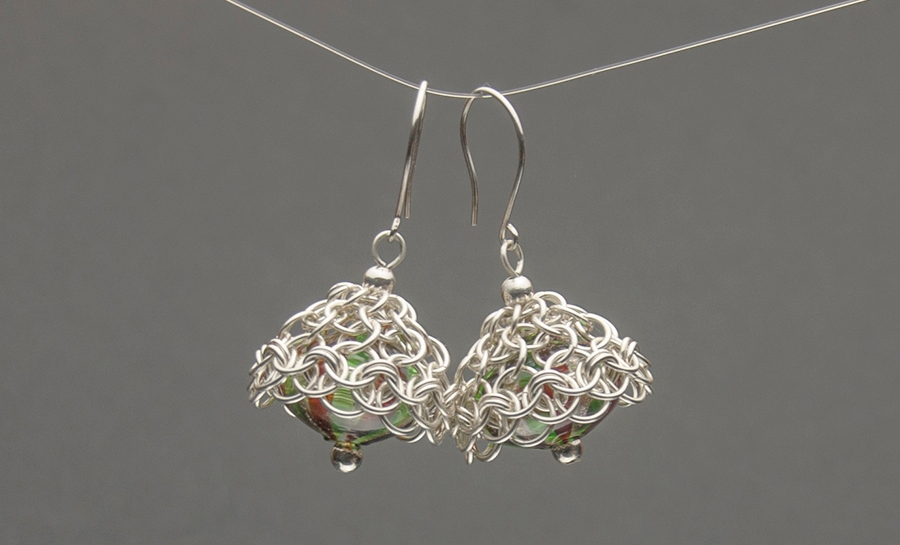 Sterling silver chain maille earrings with Murano glass, by Kylie Jones.
