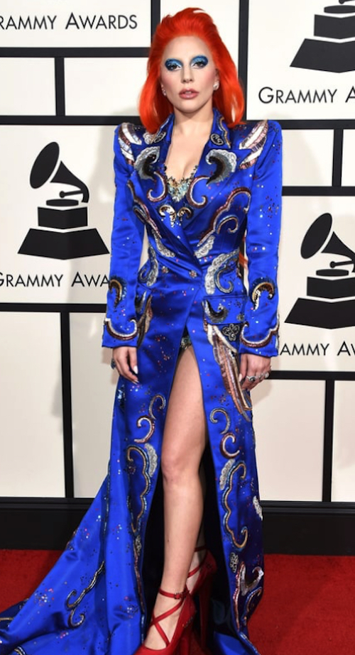 Lady Gaga in a patriotic color scheme; jewelry by Lorraine Schwartz