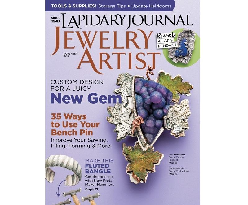 Lapidary Journal Jewelry Artist magazine November 2016: Lexi Erickson's batu manakarra (grape agate) jewelry on cover