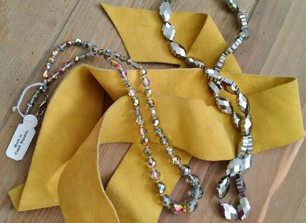 vintage leather, Czech crystals, and beads from CJS Sales