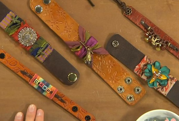 leather jewelry making: how to make and embellish leather cuffs