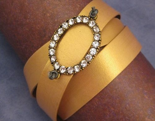 leather jewelry making: Katie Hacker's metallic gold leather and crystal buckle wrap bracelet