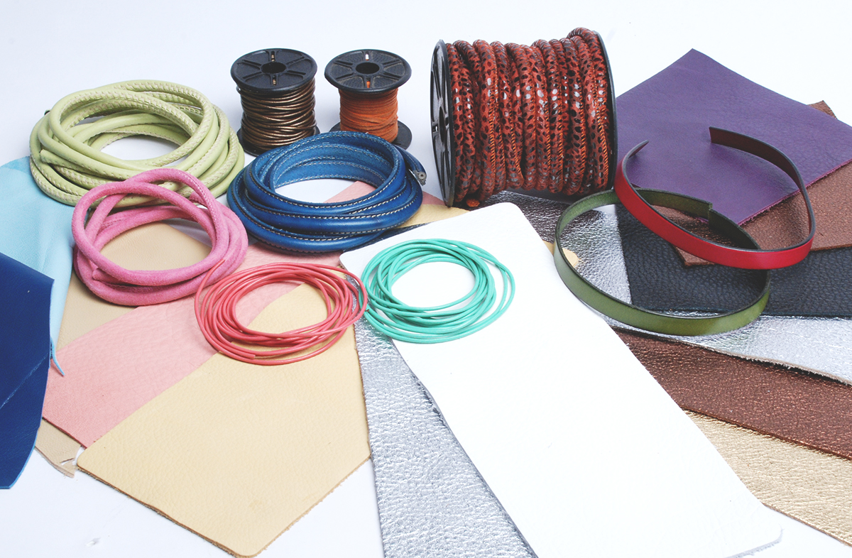 a collection of leather - leather cording, leather pieces including chrome tanned and lambskin