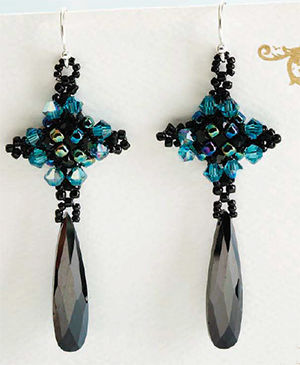 """Little Black Dress"" earrings by Marcia DeCoster, the perfect finishing beaded touch"