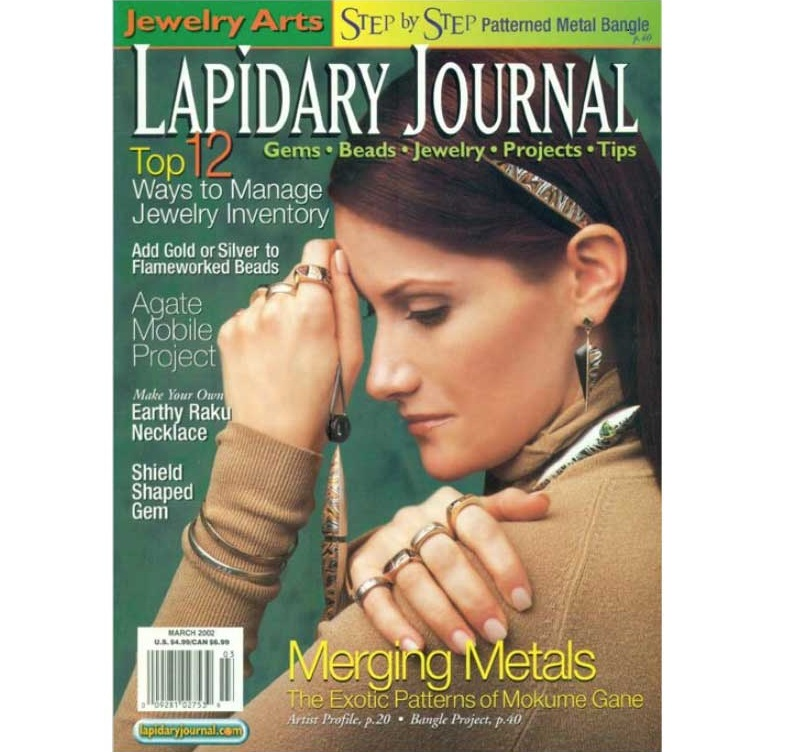 March 2002 Lapidary Journal featuring mokume gane
