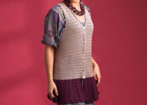 Make this long crochet vest found in our eBook on 5 FREE crochet vest patterns.