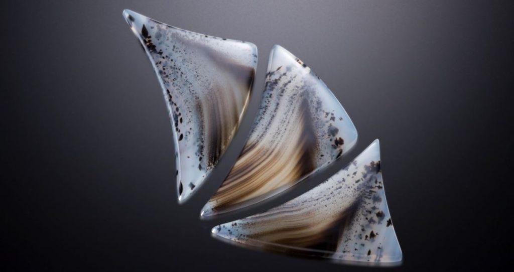 Robert M'Closkey, M'Closkey Lapidary Design, Montana agate, gem suite, average: 42mm x 32mm x 4mm, diamond wheels; photo: Jeff Scovil