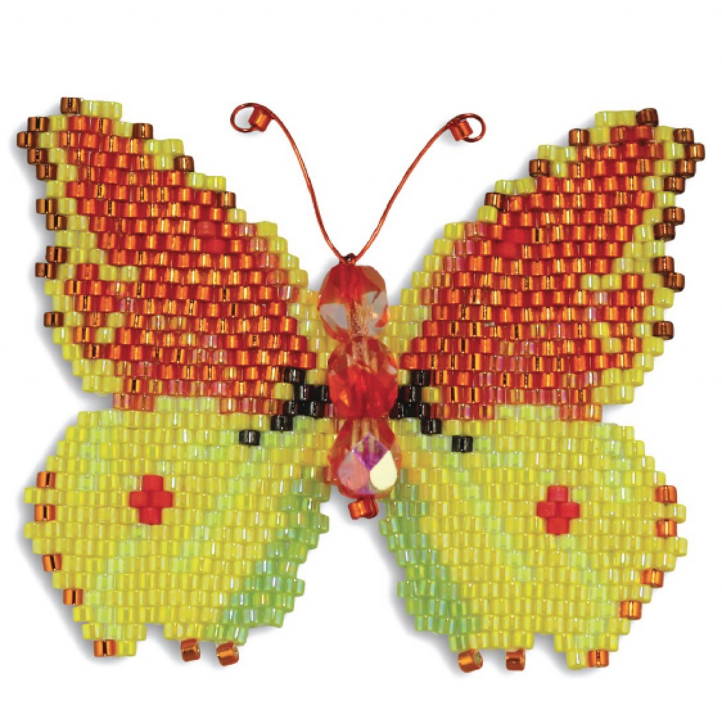 Madeiran Brimstone beaded butterfly, by Karen Parker. Brick stitch, Delica seed beads