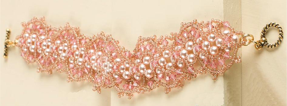 Magdala Bracelet by Nancy Peterson, 10 Favorite Pink Jewelry Projects, mixed media jewelry, beadweaving, beading, tassels