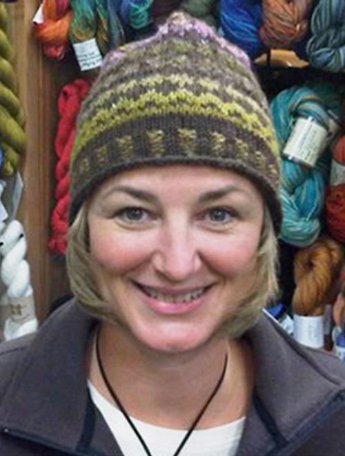Magic loop knitting faux isle hat