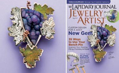 "hot new gemstones: manakarra ""grape stone"" from the November 2016 Lapidary Journal Jewelry Artist magaznie"