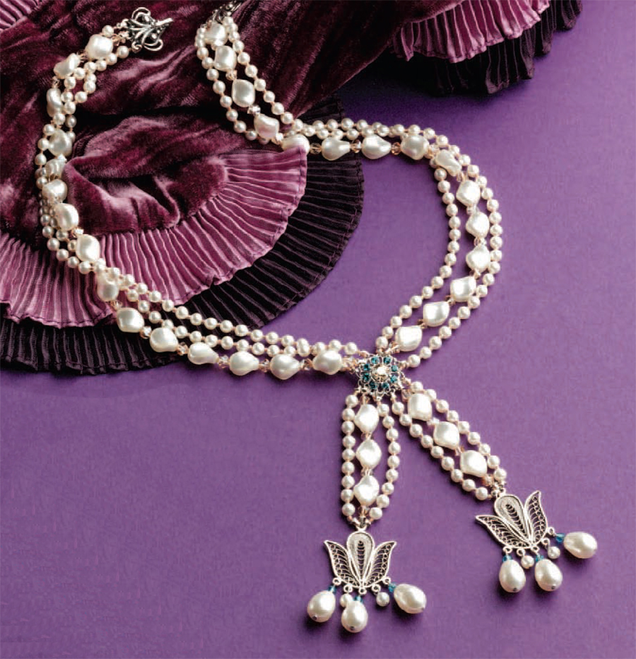 Bead weaving patterns for back to school, Marie Antoinette Necklace, by Danielle Fox