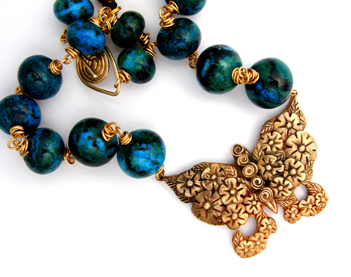 Mariposa metal clay jewelry by Lorena Angulo