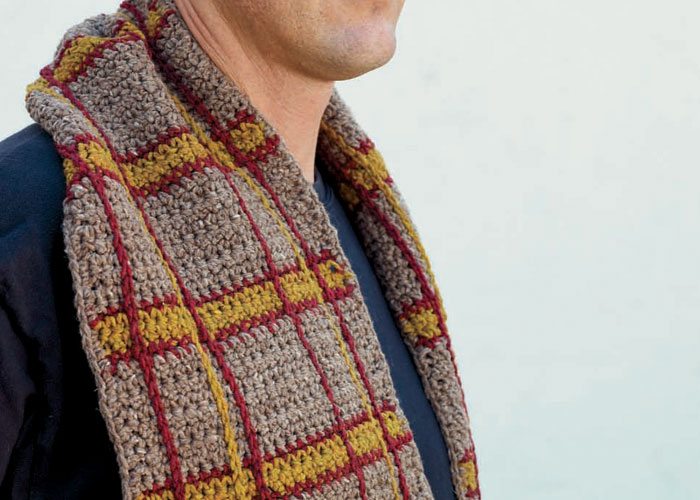 Learn how to crochet a scarf in this FREE eBook on crochet for men patterns.