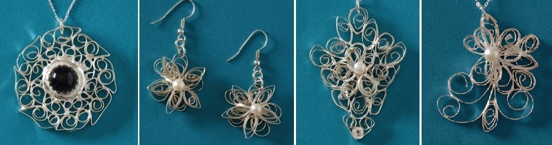 finished jewelry from Jackie Truty's metal clay paper quilling course