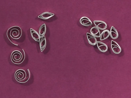 samples Jackie Truty's metal clay paper quilling course