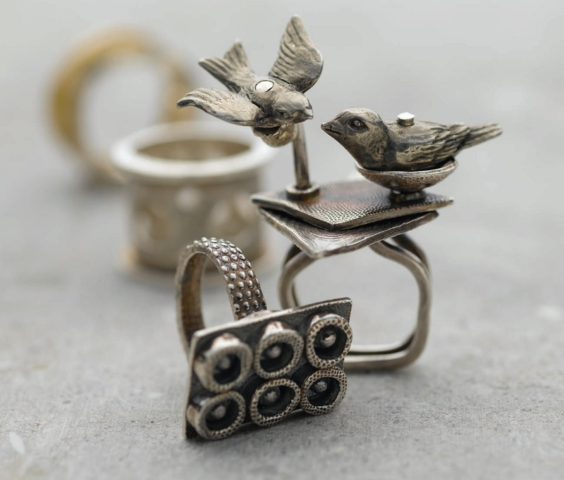 metal clay bird rings by Kate McKinnon