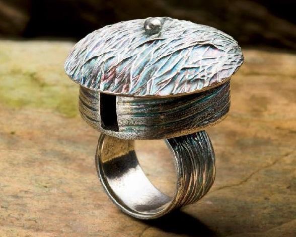 Metal Clay Yurt Ring by Lynn Cobb
