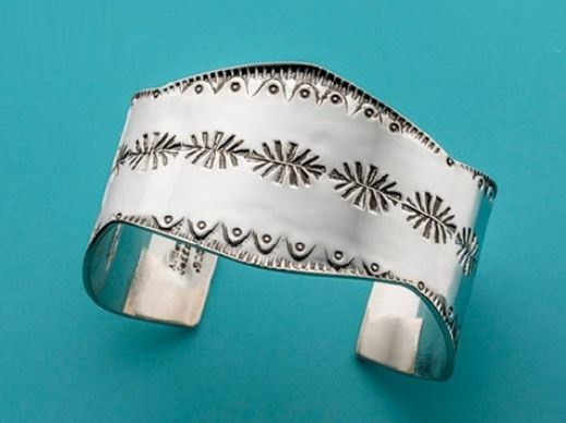 stamped silver cuff by Jeff Fulkerson