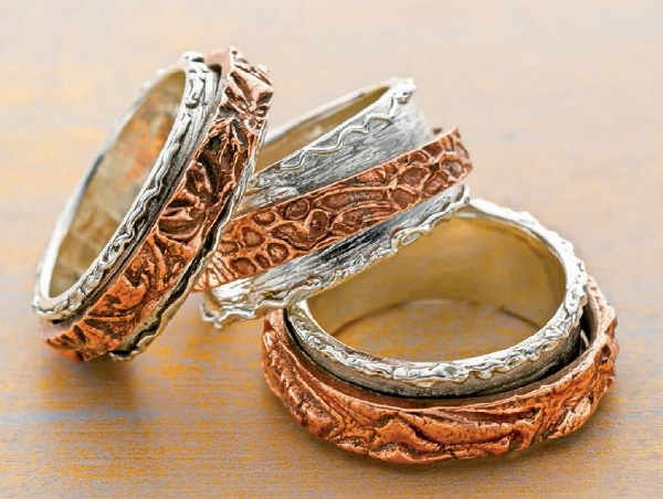 dual metal clay double spinner rings by Arlene Mornick