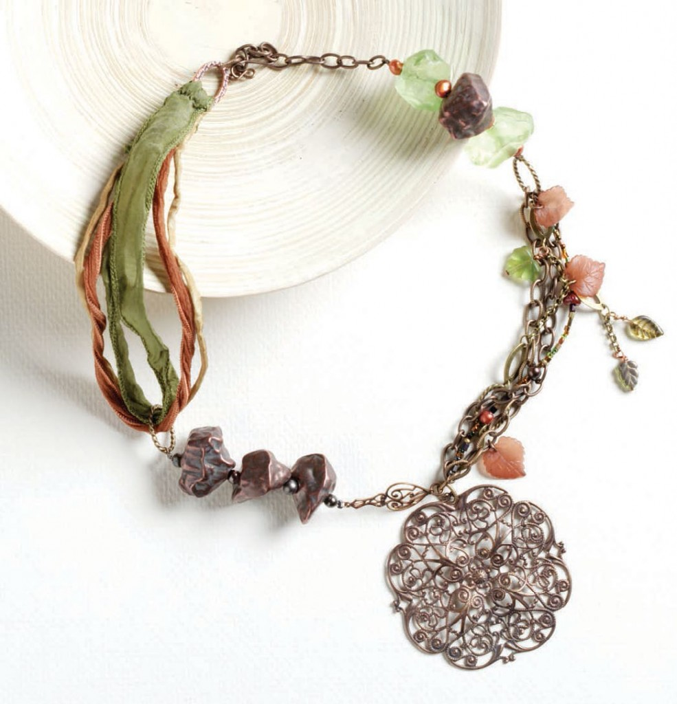 Learn how to make this mixed-media necklace in our FREE guide on jewelry-making projects and techniques with beads.
