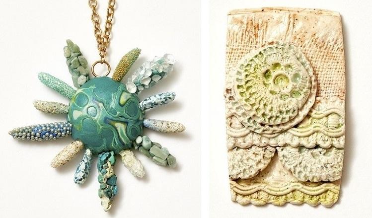 polymer clay mixed media jewelry by Christi Friesen