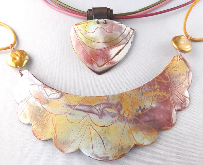 enameled Monet's Garden necklace by jewelry artist Debora Mauser