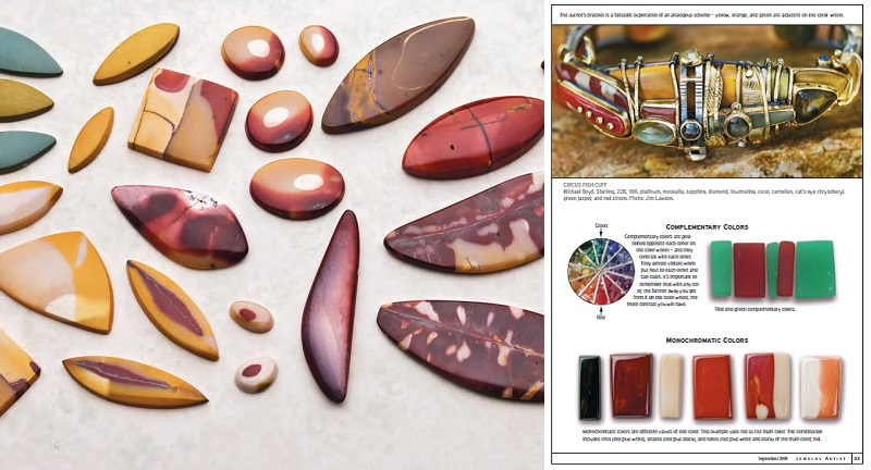 mookaite cabochons and mookaite jewelry design from the September 2008 issue of Lapidary Journal Jewelry Artist