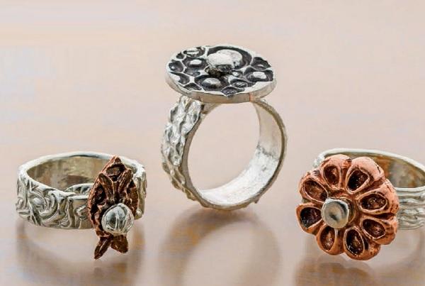 Moving Metal Clay Rings by Arlene Mornick