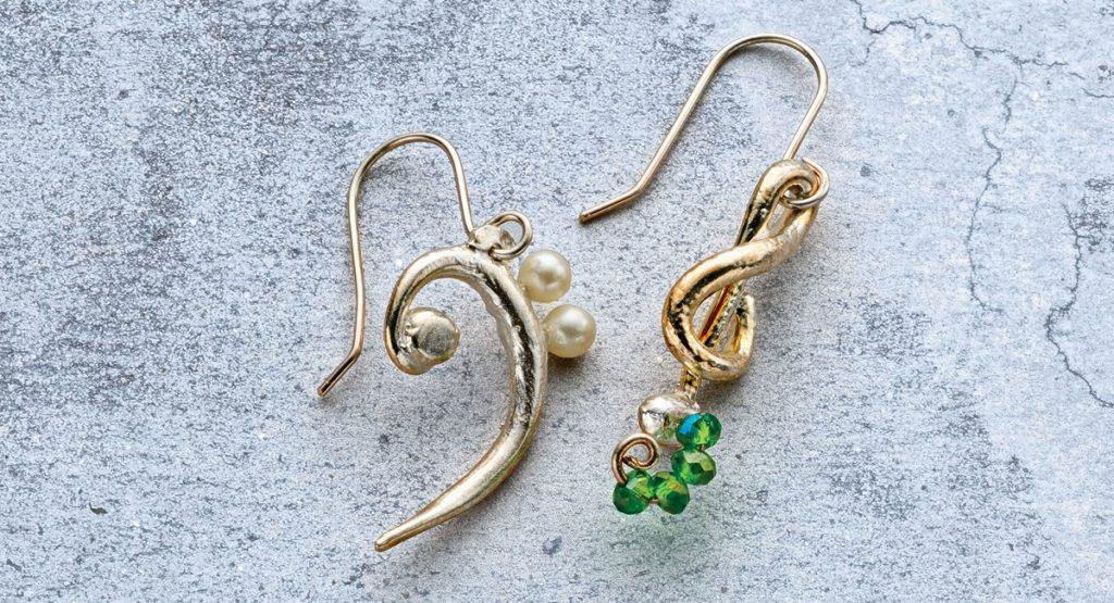 Musical Pairs Metal Clay Earrings by Arlene Mornick