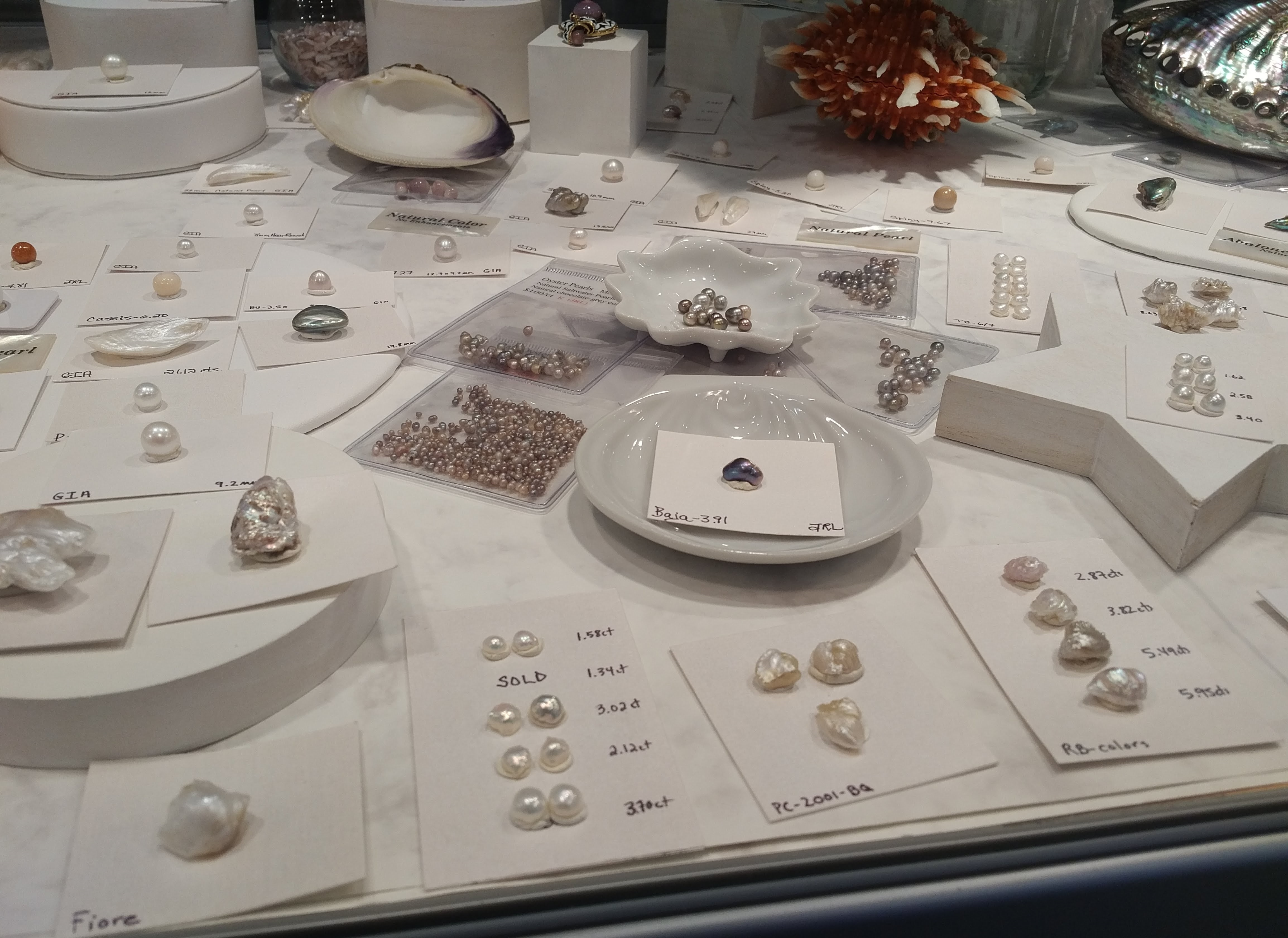 natural pearls abalone, conch, melo, other rare natural pearls American Pearl Company, Nashville TN - AGTA Tucson shows
