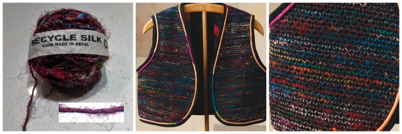 Weaving With Sari Silk: a. Nepalese recycled silk, b. Vest by Sally Gelbaugh, c. Close-up of vest