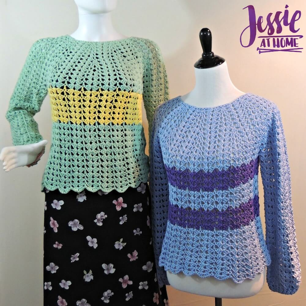 These crochet sweaters are crocheted from the top down for a perfect fit.