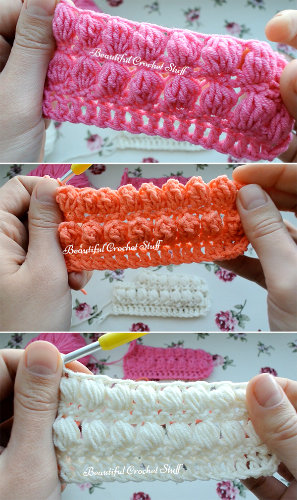 How To Make Crochet Puff Bobble And Popcorn Stitches