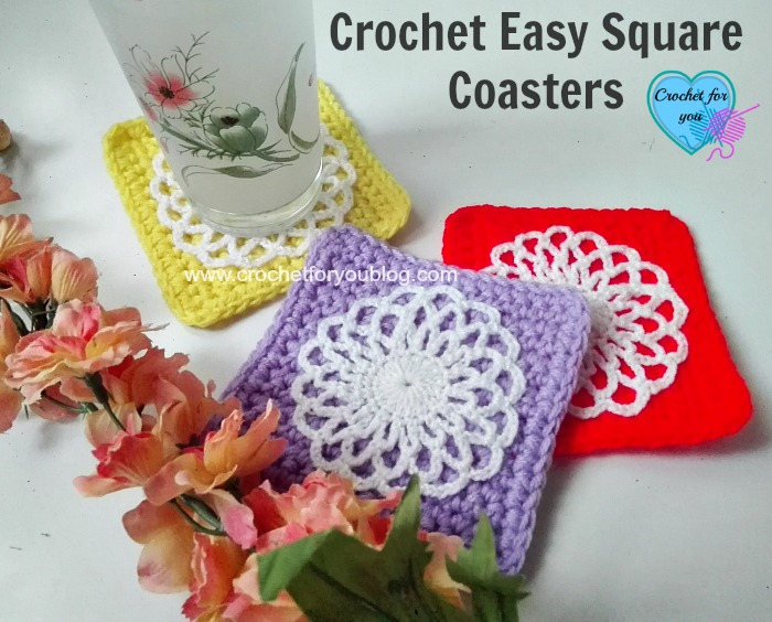 Easy Square Crochet Coaster