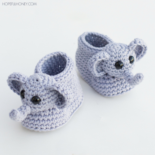 These sweet elephant crochet baby booties are perfect for anyone who loves a pachyderm.