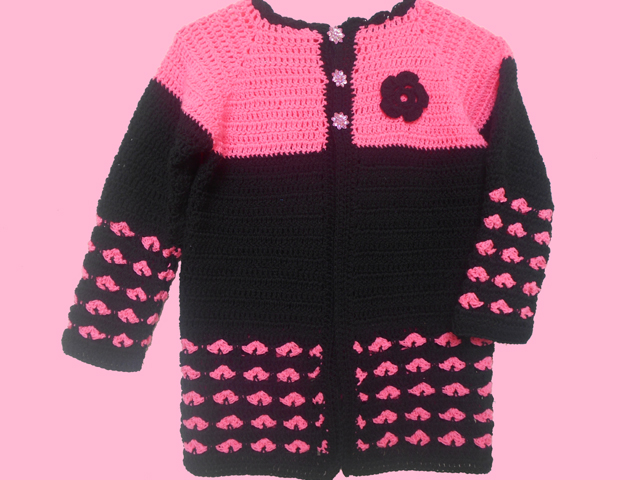 This heart stitch crochet cardigan for kids is easy and cute.