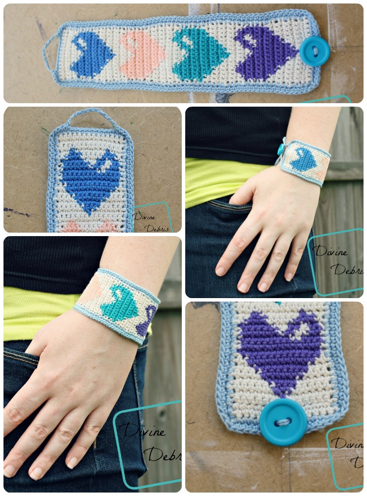This crochet bracelet is adorable with it's eye-catching hearts.