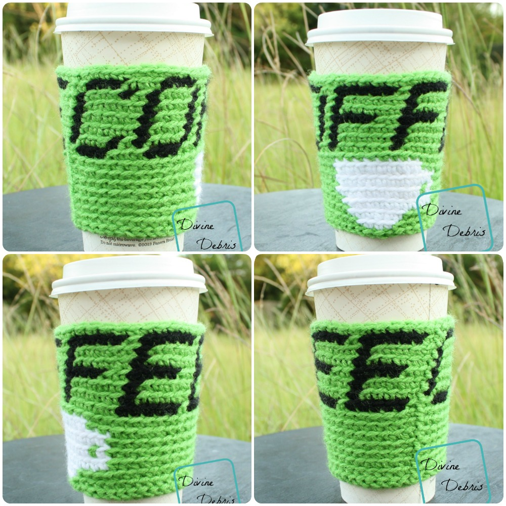 This fun coffee crochet cozy is a great crochet colorwork project.