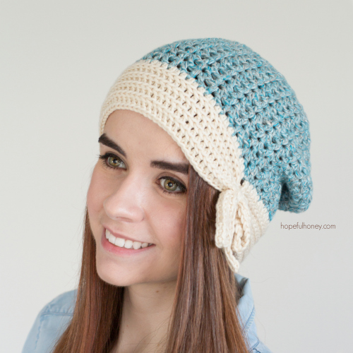 This sloucy crochet beanie is a great accessory.