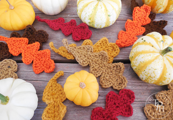 These crochet leaves are perfect for fall decorating.