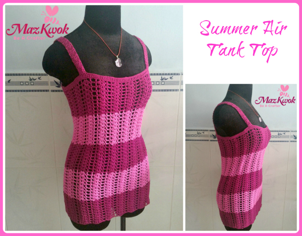 This flattering crochet tank top made by fine weight mercerized cotton yarn and two tone colors.