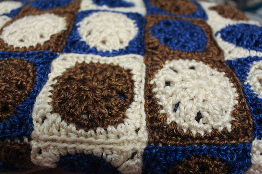 This polka dot crochet blanket is beautiful.
