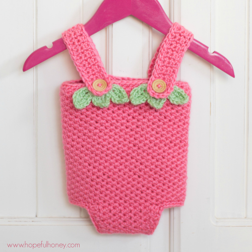 This crochet baby playsuit is adorable!